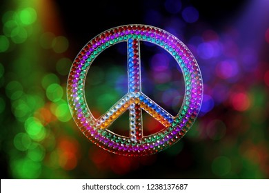 Peace Sign With Rainbow Colors and Colorful Bokeh