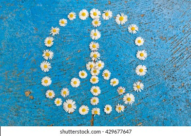 Peace sign, peace symbol, peace design created of daisy flowers on textured blue background