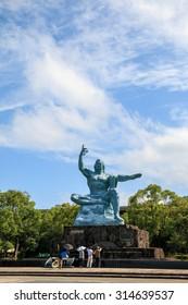 Peace Statue in Nagasaki Peace Park, Nagasaki, Japan.