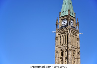 Peace Tower (officially: the Tower of Victory and Peace) with blue sky background in downtown Ottawa, Ontario, Canada.