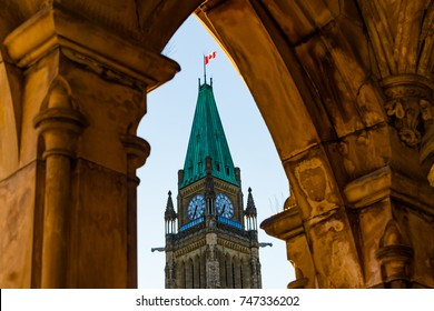 Peace Tower at the Parliament of Canada in Ottawa Framed in Arch