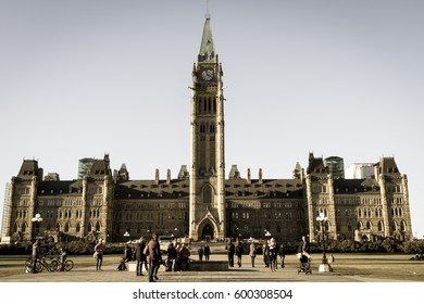 The Peace Tower (Tour de la Paix) in Parliament Hill is a focal bell and clock tower sitting on the central axis of the Centre Block of the Canadian parliament buildings in Ottawa on October 31, 2015