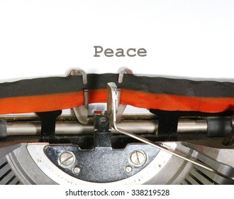 Peace written with black ink with the typewriter