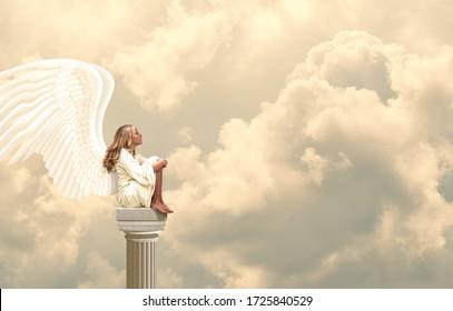 Peaceful Angel on Roman Column