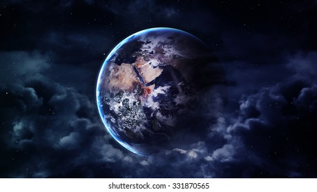 Peaceful background, blue night sky with Earth, stars, beautiful clouds, glowing horizon. Elements furnished by NASA