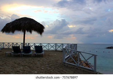 Peaceful beach scene taken at the golden hour before sunset in Lucea, Jamaica