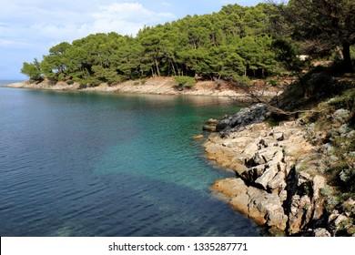 peaceful blue bay, island Losinj, Croatia