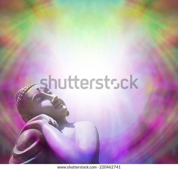 Peaceful Buddha basking in light - Buddha in left bottom corner basking in bright light on a purple and green border background