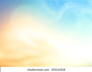 A peaceful day concept: Abstract sunshine sky with blurred beautiful yellow nature background