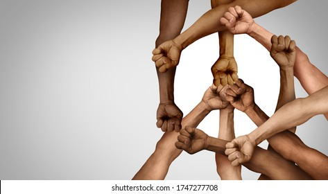 Peaceful demontration and Protest group or protester unity and diversity as hands in a fist of diverse people connected together as a nonviolent resistance.