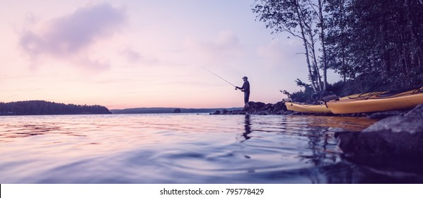 Peaceful fishing at a lake