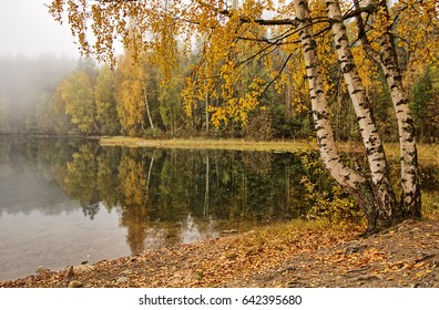 Peaceful foggy autumn lake view with vibrant fall colors in Finland.