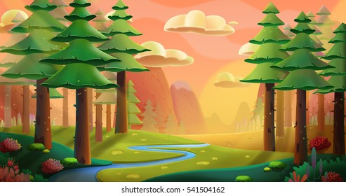 Peaceful Forest. Video Game's Digital CG Artwork, Concept Illustration, Realistic Cartoon Style Background