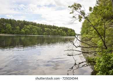Peaceful fresh water lake with calm surface