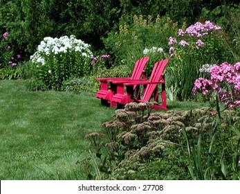 Peaceful garden scene