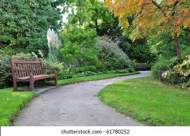Peaceful Garden Scene in Autumn
