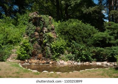 Peaceful green park in Sandanski city, Bulgaria