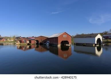 Peaceful harbor scenery in the Baltic sea archipelago