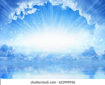 Peaceful heavenly background - light from heaven, bright sunlight with reflection in sea
