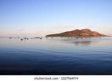The peaceful Holy Isle from Lamlash on Arran