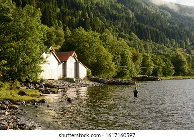 Peaceful image of a fisherman in the water of a Norwegian fjord with boatshed and forest in background