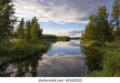 Peaceful lake scenery in summer