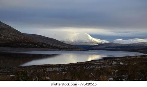 Peaceful Lake & Snowy Mountains Reflection, Nature Landscape of Scottish Highlands, Scotland, United Kingdom
