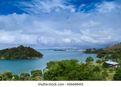 Peaceful lakeside location, with clear blue waters in Whangarei Heads, New Zealand.