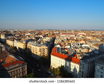 peaceful landscape of Budapest city, Hungary in summer from St. Stephen's Basilica