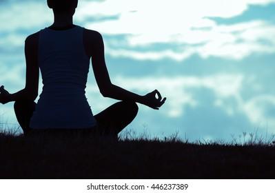 Peaceful meditation outdoors.