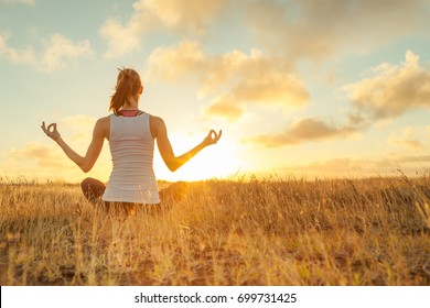 Peaceful meditation at sunset.