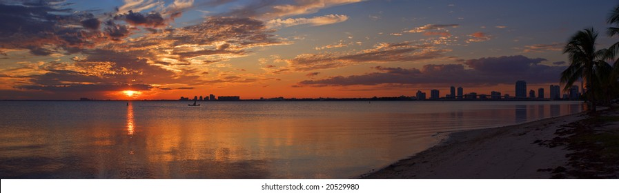 Peaceful Miami Sunset Biscayne Bay Beach Panorama