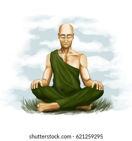 A peaceful monk meditates on the background of nature
