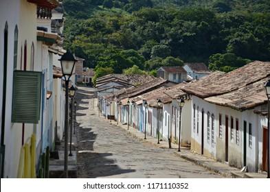 Peaceful morning in a street of Cidade de Goias Brazil