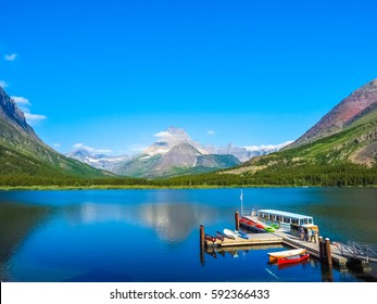 Peaceful Nature of Swiftcurrent Lake in Glacier National Park.