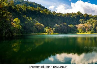 Peaceful Ranamese lake hidden in Flores island