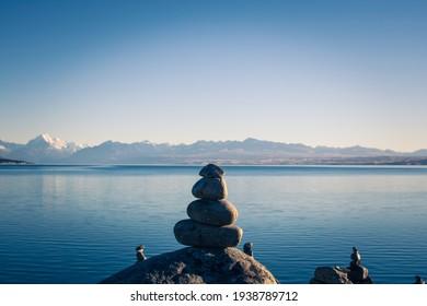 Peaceful scene of arranged rocks at Lake Tekapo