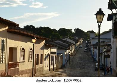 Peaceful scene in a quiet street of Cidade de Goias Brazil