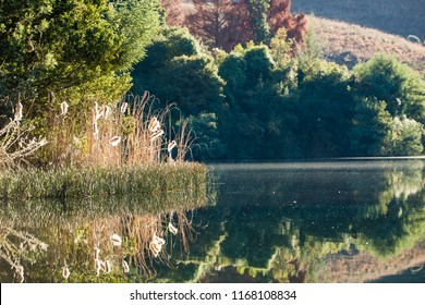 Peaceful scenery by a lake in Drakensberg