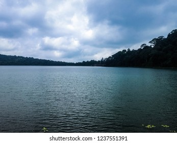 Peaceful Scenery Of Lake Beratan With Calm Lake Water Waves At Bedugul, Tabanan, Bali, Indonesia