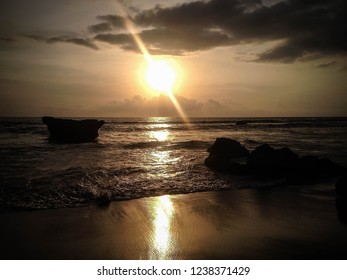 Peaceful Scenery On The Beach In The Sunset Moment At Batu Bolong Beach, Canggu Village, Badung, Bali, Indonesia