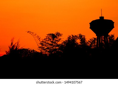 peaceful silhouette scene water tank
