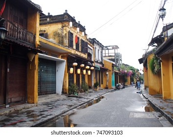 peaceful street perspective view of retro vintage historic building in the well known world cultural heritage place, HOI AN,  historical Japanese Chinese and european international market  in VIETNAM