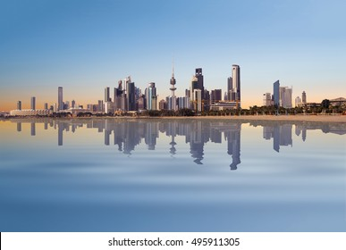 peaceful view of Kuwait cityscape during sunrise