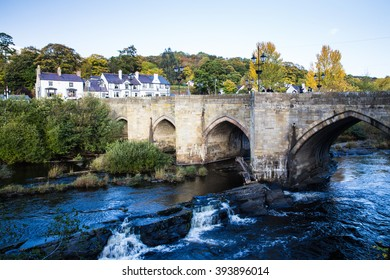 A peaceful view of Llangollen canal and the old bridge in autumn day, Wales, UK