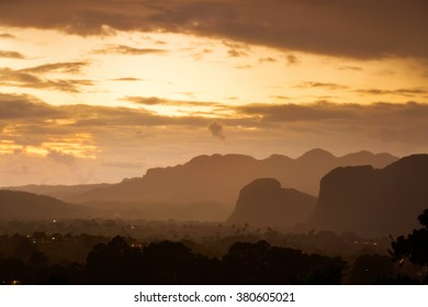 Peaceful view of Vinales valley at sunrise. Aerial View of the Vinales Valley in Cuba. Morning twilight and fog. Fog at dawn in the Valley of Vinales in Pinar del Rio, famous for tobacco plantations