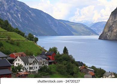 peaceful village beside Fjord, in Norway, famous holiday resort