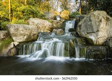Peaceful waterfall scene.