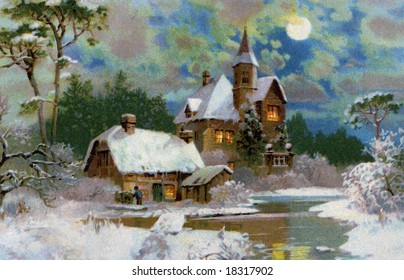 A Peaceful Winter Scenic - a 1907 vintage Christmas illustration