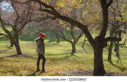 Peaceful Woman Solitude Quiet Fall Landscape Embracing Autumn Season